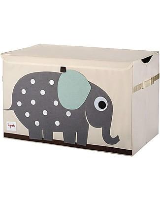 3 Sprouts Baule Porta Giochi - Elefante -  Tela di Cotone Contenitori Porta Giochi