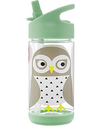 3 Sprouts Borraccia con Cannuccia di Silicone - Gufo - 350 ml - senza BPA e ftalati Borracce senza BPA