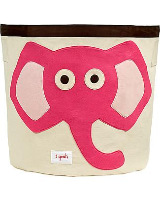 3 Sprouts Cesto Portatutto - Elefante Rosa - 100% Cotone Contenitori Porta Giochi