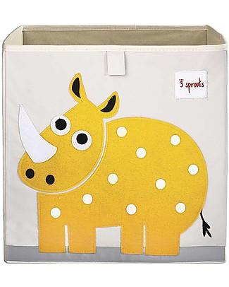 3 Sprouts Contenitore Portaoggetti - Rinoceronte - Compatibile con Scaffali Ikea Kallax! Contenitori Porta Giochi
