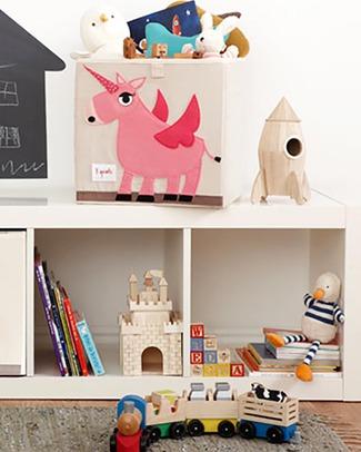 3 Sprouts Contenitore Portaoggetti - Unicorno - Compatibile con Scaffali Ikea Kallax! Contenitori Porta Giochi
