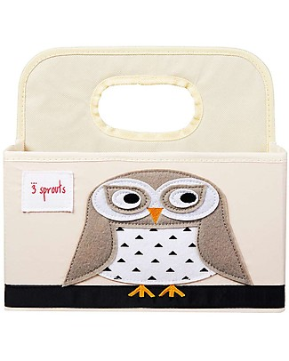 3 Sprouts Diaper Caddy - White Owl - Cotton canvas Changing Tables