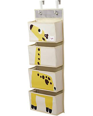 3 Sprouts Organaizer da Muro con Ganci, 4 Tasche - Giraffa Giallo Contenitori Porta Giochi