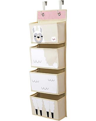 3 Sprouts Organaizer da Muro con Ganci, 4 Tasche - Lama Bianco Contenitori Porta Giochi