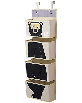 3 Sprouts Organaizer da Muro con Ganci, 4 Tasche - Orso Nero Contenitori Porta Giochi