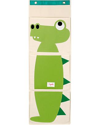 3 Sprouts Organizer da Muro a 3 Tasche - Coccodrillo - Tela di Cotone Contenitori Porta Giochi
