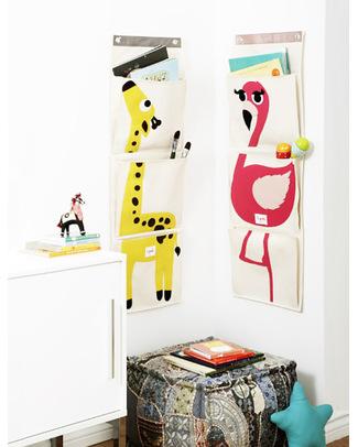 3 Sprouts Organizer da Muro a 3 Tasche - Giraffa - Tela di Cotone Contenitori Porta Giochi