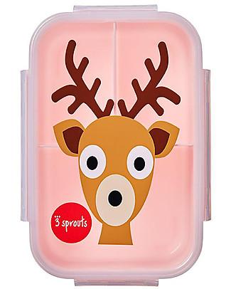 3 Sprouts Porta Pranzo Bento, 3 Scomparti - Cerbiatto Rosa Contenitori Latte e Snack