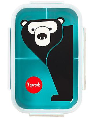 3 Sprouts Porta Pranzo Bento, 3 Scomparti - Orso Verde Petrolio Contenitori Latte e Snack