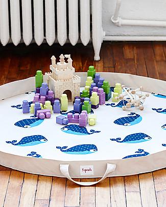 3 Sprouts Tappeto Gioco e Borsa  2-in-1 in Tela di Cotone 100%, Balena - 112 cm diametro Contenitori Porta Giochi