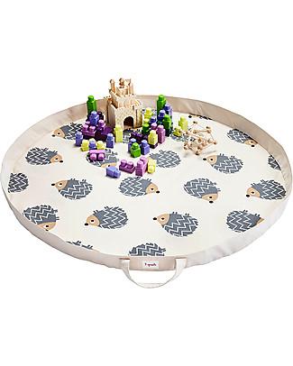 3 Sprouts Tappeto Gioco e Borsa  2-in-1 in Tela di Cotone 100%, Riccio – 112 cm diametro Contenitori Porta Giochi