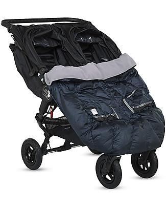 7AMenfant Duo Blanket, Sacco Imbottito per Passeggino Gemellare, Blu di Prussia Metallizzato Sacchi Passeggino