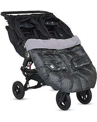 7AMenfant Duo Blanket, Sacco Imbottito per Passeggino Gemellare, Carbone Metallizzato Sacchi Passeggino