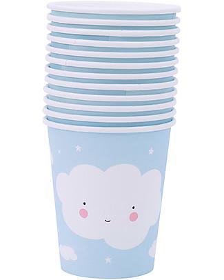 A Little Lovely Company 12 Bicchieri di Carta per Feste - Nuvoletta Set Pappa