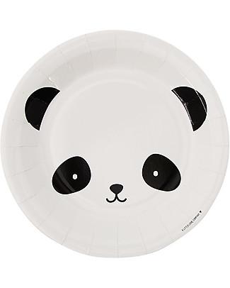 A Little Lovely Company 12 Piatti di Carta per Feste - Panda Piatti e Scodelle