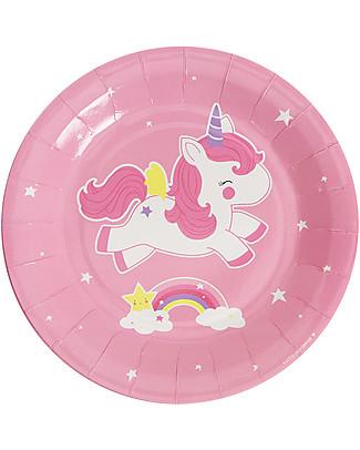 A Little Lovely Company 12 Piatti di Carta per Feste - Unicorni null