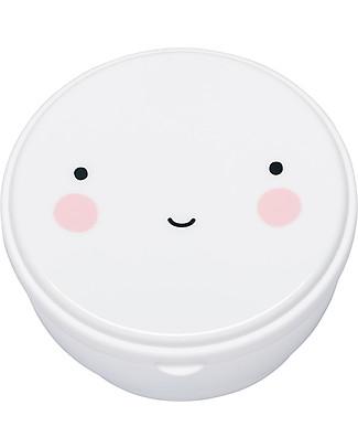 A Little Lovely Company 4 Porta Pranzo Happy Face - Bianco - Senza BPA o ftalati Contenitori Latte e Snack