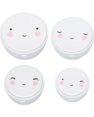 A Little Lovely Company 4 Porta Pranzo Happy Face - Bianco - Senza BPA o ftalati null