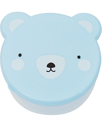 A Little Lovely Company 4 Porta Pranzo Orso - Celeste - Senza BPA o ftalati Contenitori Latte e Snack