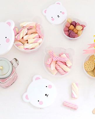 A Little Lovely Company 4 Porta Pranzo Orso - Rosa - Senza BPA o ftalati Contenitori Latte e Snack