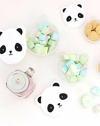A Little Lovely Company 4 Porta Pranzo Panda - Bianco/Nero - Senza BPA o ftalati Contenitori Latte e Snack