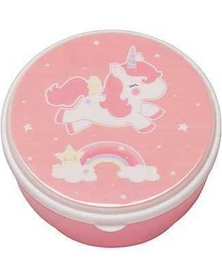 A Little Lovely Company 4 Porta Pranzo Unicorno - Rosa - Senza BPA o ftalati Contenitori Latte e Snack