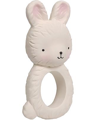 A Little Lovely Company Anello da Dentizione, Coniglietto Bianco - 100% Gomma Naturale Massaggiagengive