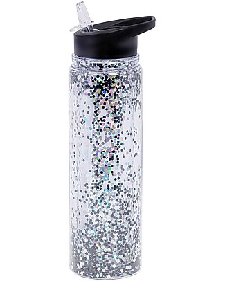 A Little Lovely Company Borraccia Glitter, 500 ml - Nero/Glitter Argento Borracce Termiche