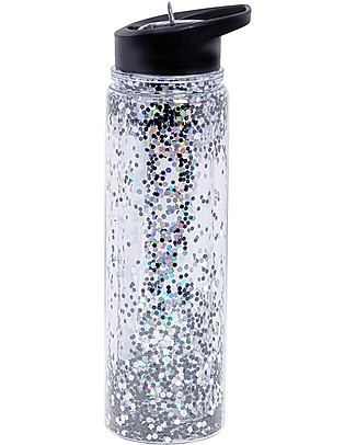 A Little Lovely Company Borraccia Glitter, 500 ml - Nero/Glitter Argento null