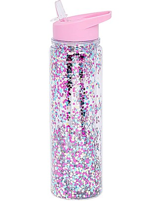 A Little Lovely Company Borraccia Glitter, 500 ml - Rosa/Glitter Multicolor Borracce Termiche