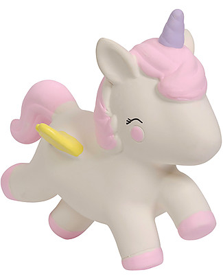 A Little Lovely Company Gioco da Dentizione, Unicorno Bianco - 100% Gomma Naturale Massaggiagengive
