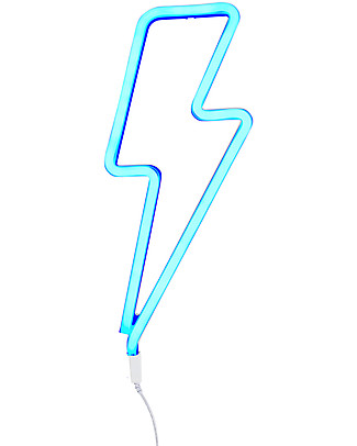 A Little Lovely Company Luce a Neon, LED, Fulmine - Blu Lampade Da Parete