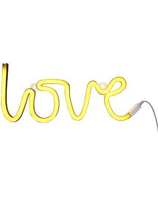 A Little Lovely Company Luce a Neon, LED, Love - Giallo Lampade Da Parete