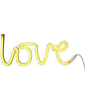 A Little Lovely Company Luce a Neon, LED, Love - Yellow Lampade Da Parete