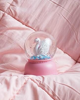 A Little Lovely Company Luce Grande LED, Palla di Neve, Cigno - Rosa Lampade Comodino