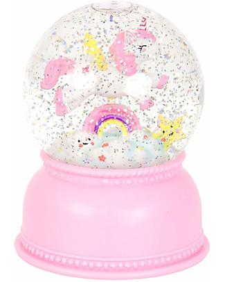 A Little Lovely Company Luce Grande LED, Palla di Neve, Unicorno - Rosa Lampade Comodino