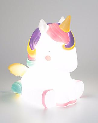 A Little Lovely Company Luce Grande LED, Unicorno - Bianco e Rosa Lampade Comodino
