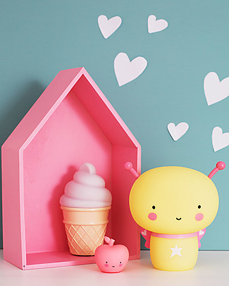 A Little Lovely Company Luce Piccola LED, Cono gelato - Bianco Lampade Comodino