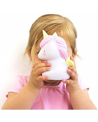 A Little Lovely Company Luce Piccola LED, Unicorno - Bianco e Rosa Lampade Comodino