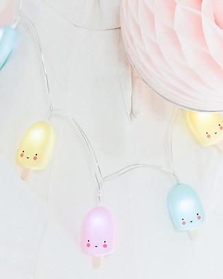A Little Lovely Company Lucine LED a Ghirlanda, Gelato Stecco - Pastello Lampade Da Parete