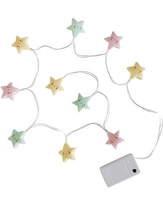 A Little Lovely Company Lucine LED a Ghirlanda, Stelline - Pastello Lampade Da Parete