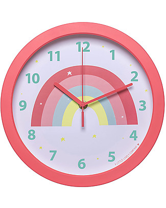A Little Lovely Company Orologio Arcobaleno, Rosa - Con i numeri! Decorazioni