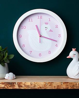 A Little Lovely Company Orologio Cigno, Bianco e Rosa - Con i numeri! Decorazioni