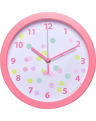 A Little Lovely Company Orologio Confetti, Bianco e Rosa - Con i numeri! Decorazioni