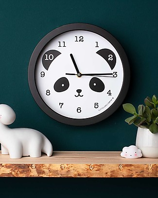 A Little Lovely Company Orologio Panda, Nero - Con i numeri! Decorazioni