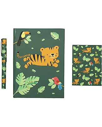 A Little Lovely Company Piccolo Set da Scrivania, (Quaderno, Notebook, Penna) - Tigre null