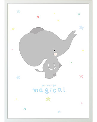 A Little Lovely Company Poster Elefante Bianco e Grigio - 50x70 cm Posters