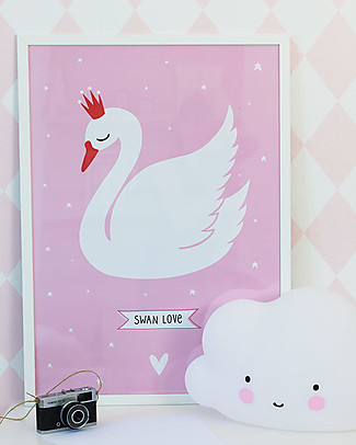 A Little Lovely Company Poster per Cameretta, Cigno - Bianco/Rosa Posters