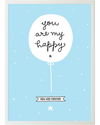 A Little Lovely Company Poster per Cameretta, You Are My Happy - Celeste/Bianco Posters