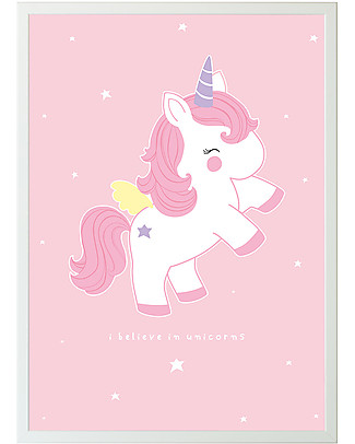 A Little Lovely Company Poster Rosa Unicorno - 50x70 cm Posters
